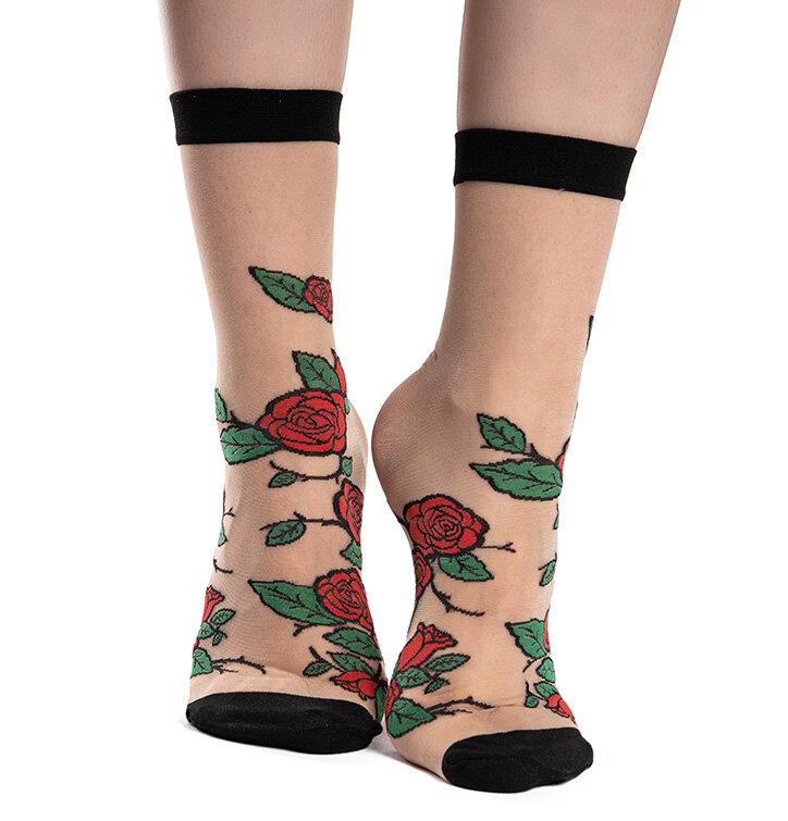 Chaussettes rigolotes en nylon Roses rouges