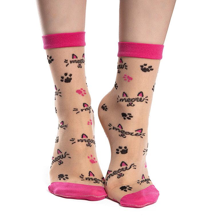 Vrolijke nylon sokken Miauw