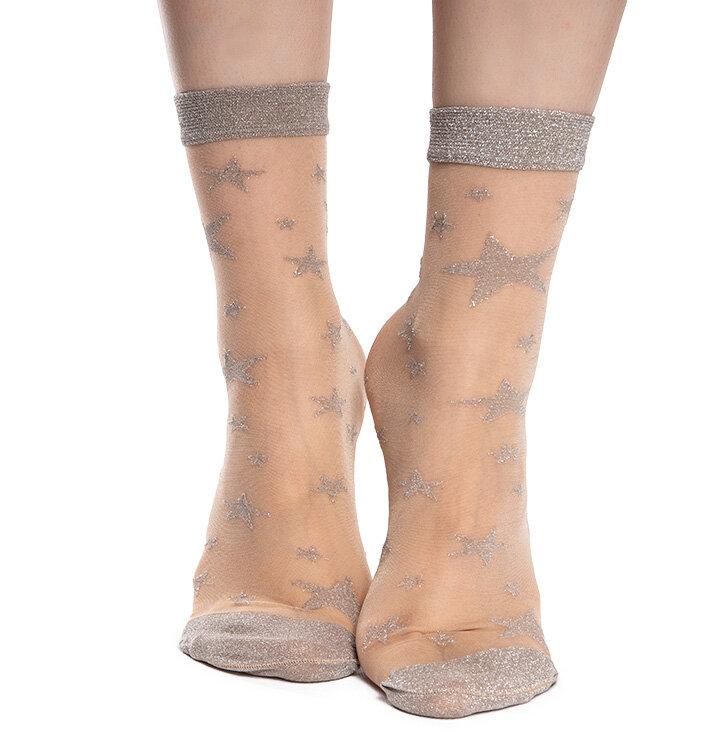Vrolijke nylon sokken Zilveren sterren