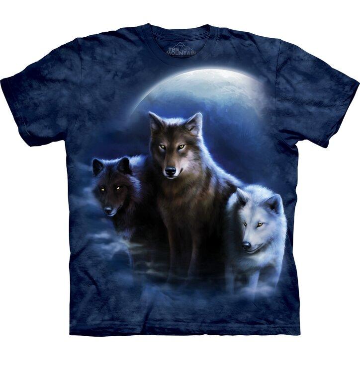 Tričko Tři vlci vyjící na měsíc