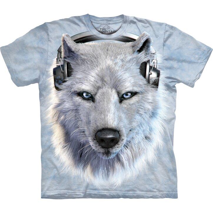 T-Shirt Weißer Wolf mit Kopfhörern