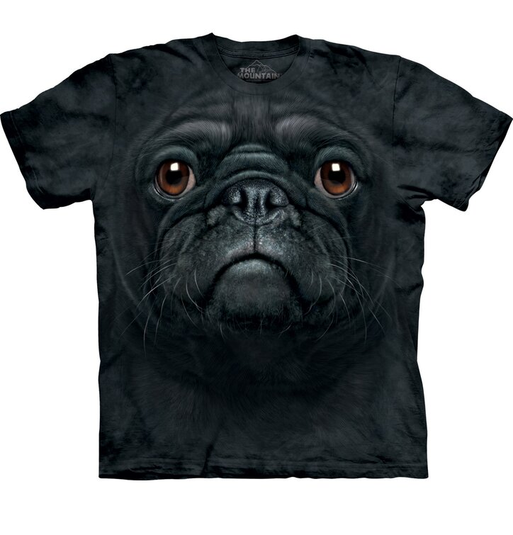 T-Shirt Schwarzer Mops Gesicht