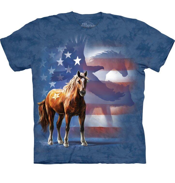 T-Shirt Wildes Pferd mit Flagge