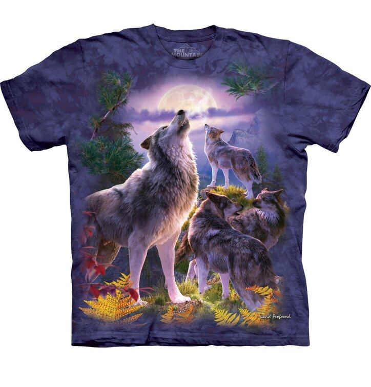 T-Shirt Wölfe und Mond