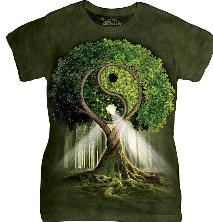Damen T-Shirt Yin Yang Baum