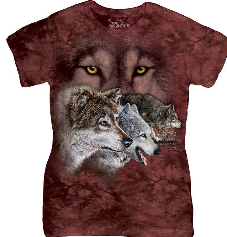 Dámske tričko s hlavolamom Nájdi 9 vlkov