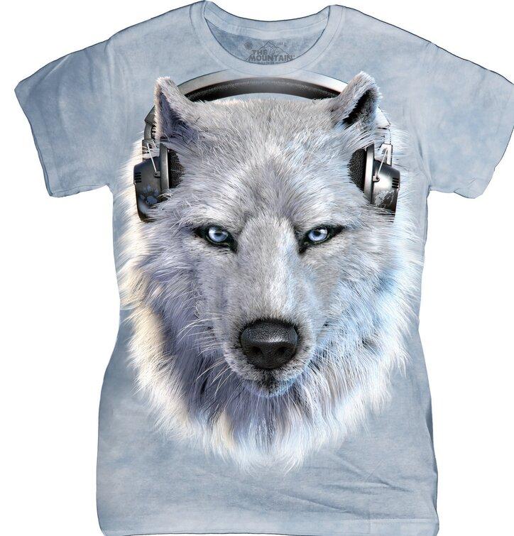 Dámské tričko Bílý vlk se sluchátky