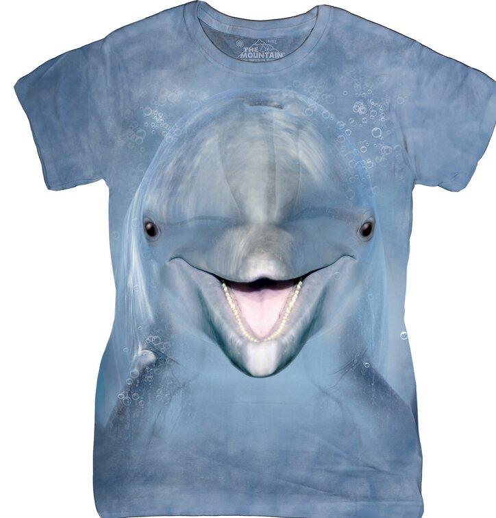 Damen T-Shirt Gesicht Delphin