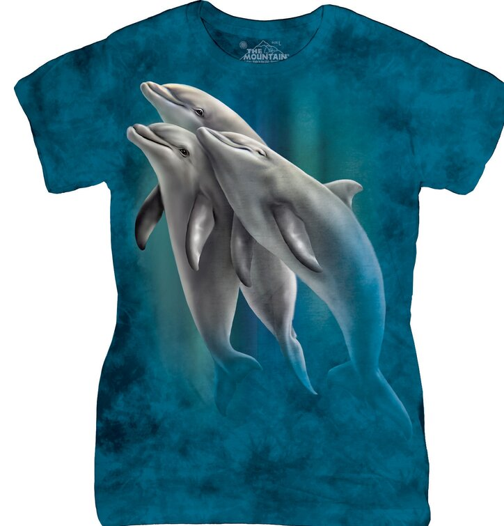 Damen T-Shirt Schwimmende Delphine