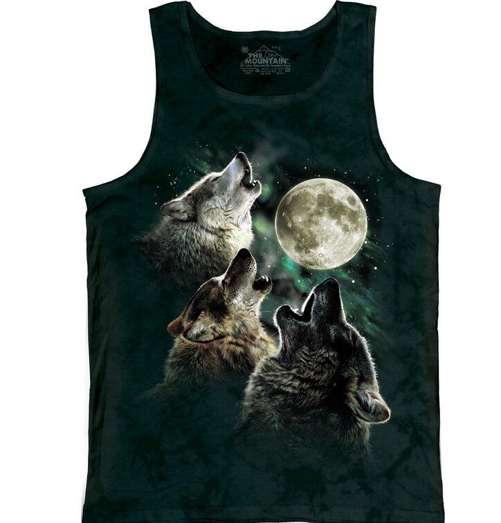 Unterhemd Drei auf Mond heulende Wölfe