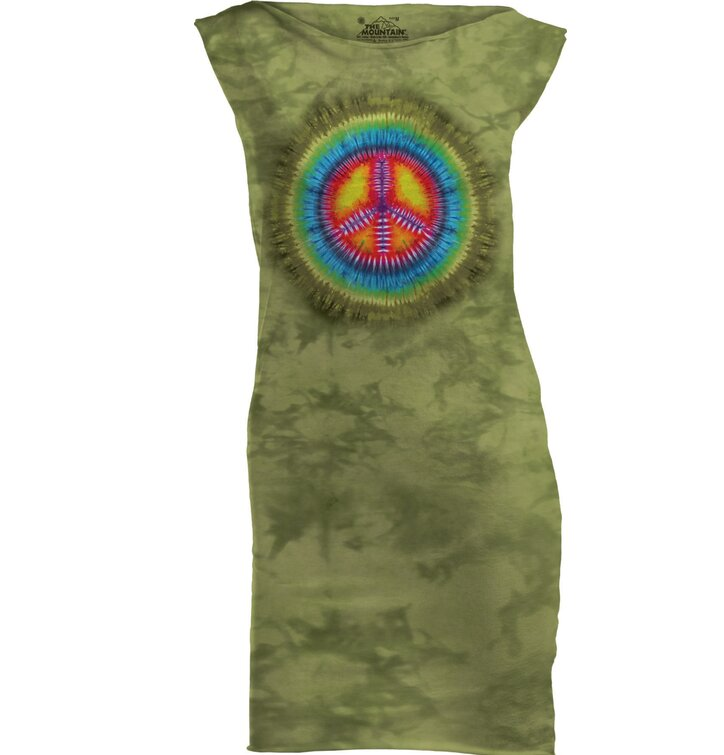 Peace Tie Dye Retro Mini Dress