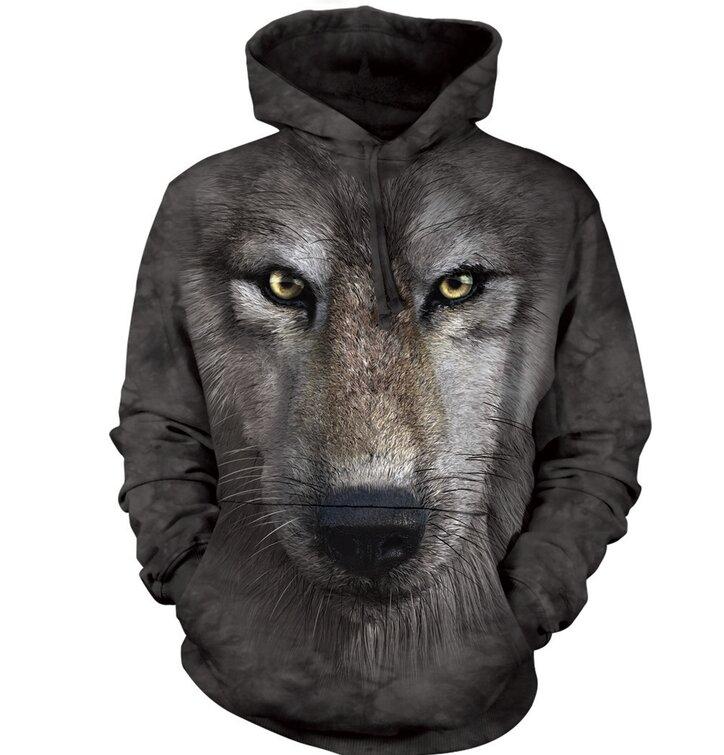 Sweatshirt mit Kapuze 3D Wolf