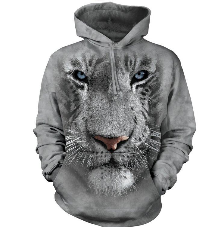 Mikina s kapucí Bílý tygr 3D