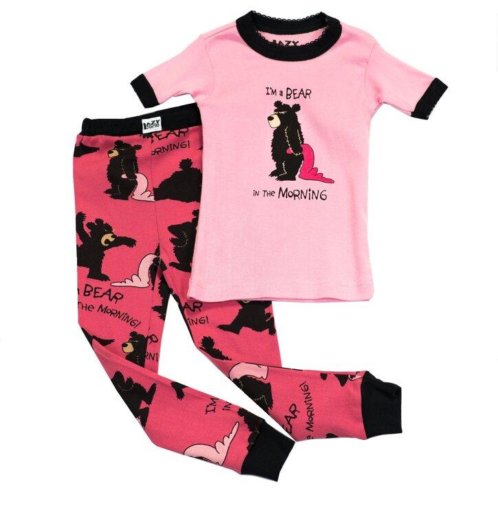 Gyermek Kétrészes Pizsama Reggel Medve Vagyok – Rózsaszín
