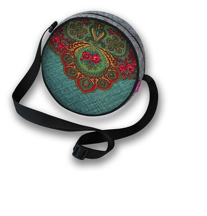 Guľatá kabelka Twist - Červený ornament