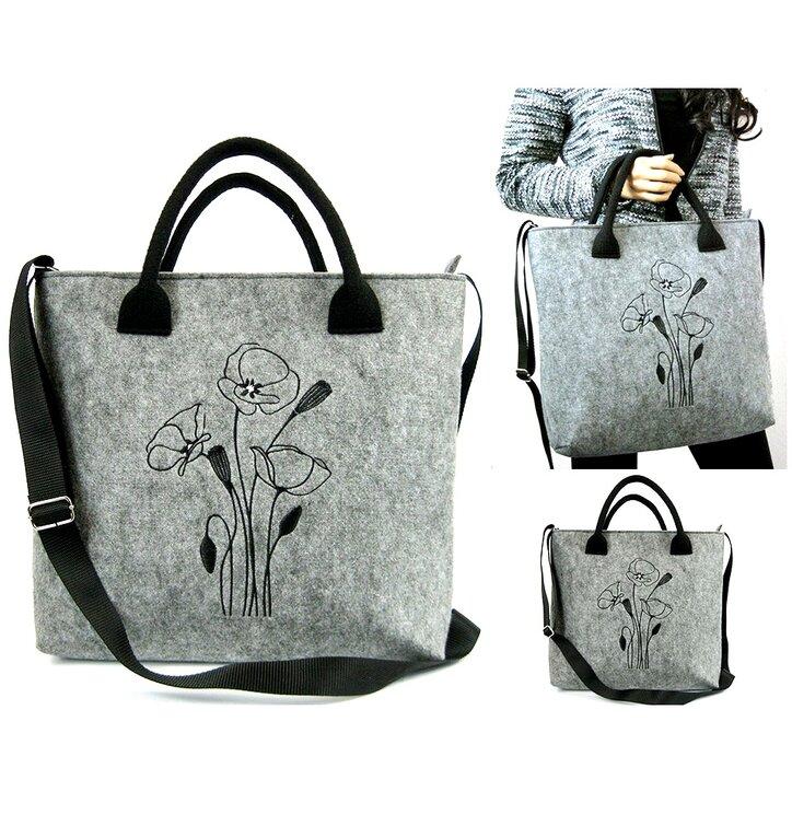 Love Handbag - Black Poppies