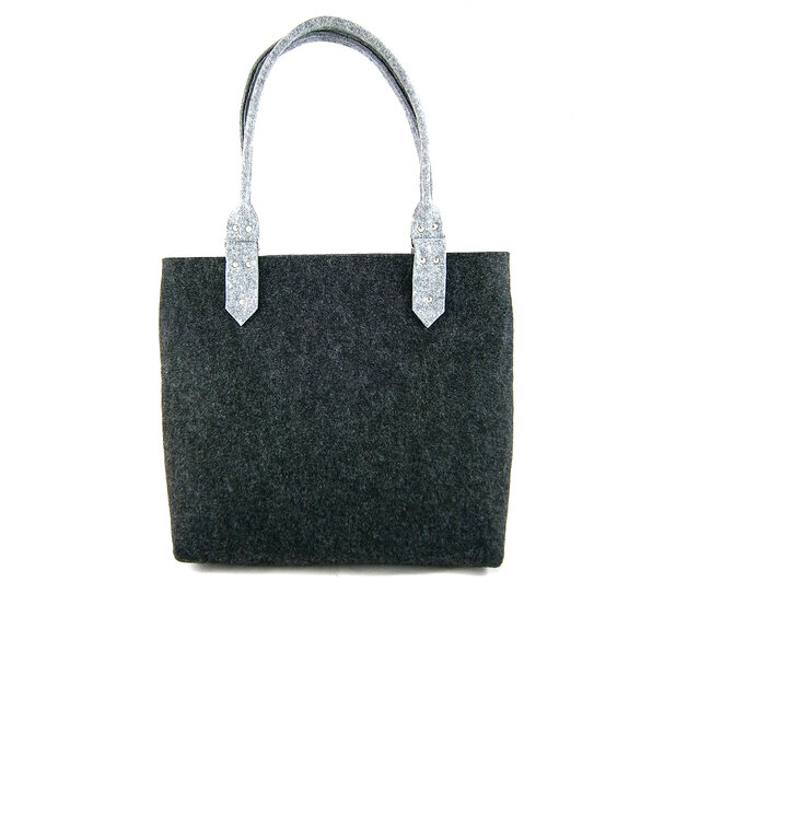 Dark Grey Klasik Shoulder Handbag