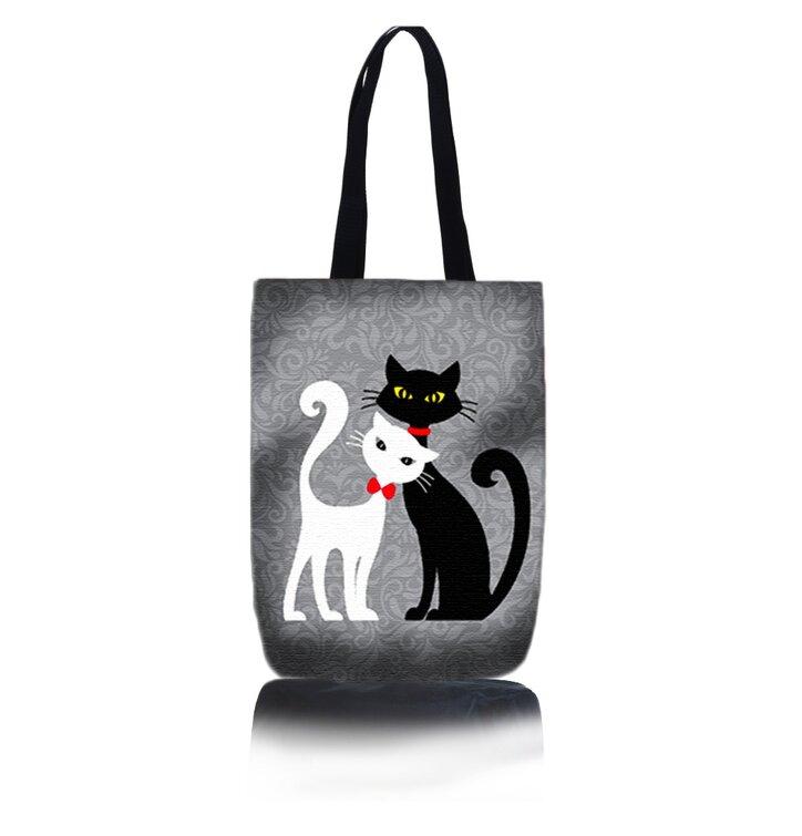 Taška na rameno Shop - Černá a bílá kočka