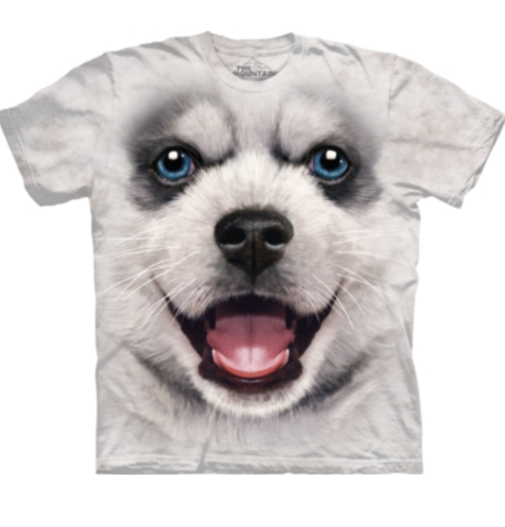 White T-shirt Siberian Husky Puppy