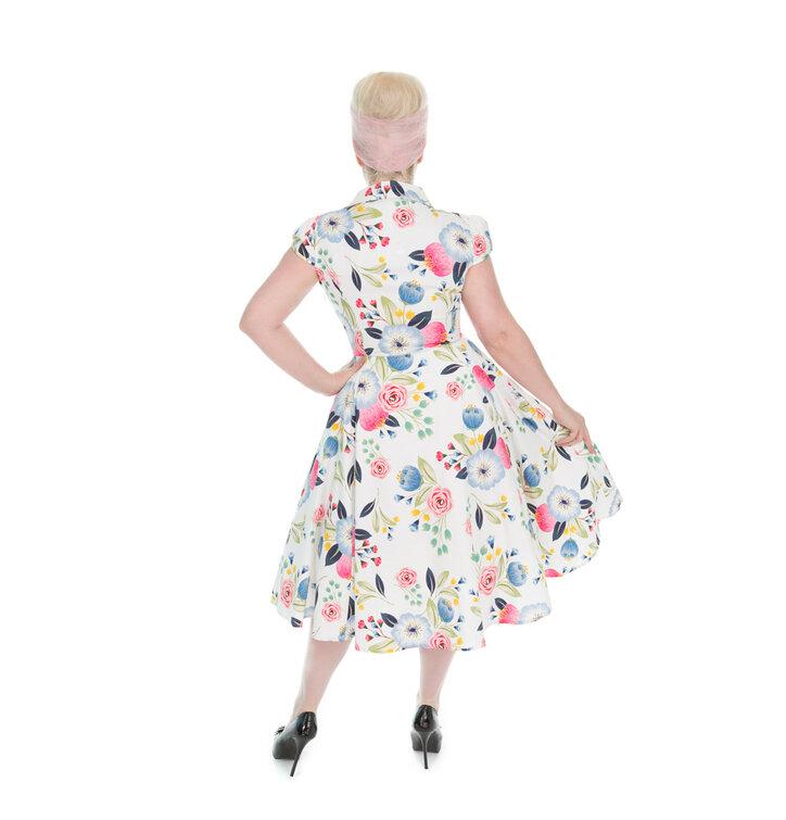 d60ba6d73d19 Hledáte originální a neobvyklý dárek  Obdarovaného zaručeně překvapí Bílé  retro pin up šaty Kvetoucí zahrada