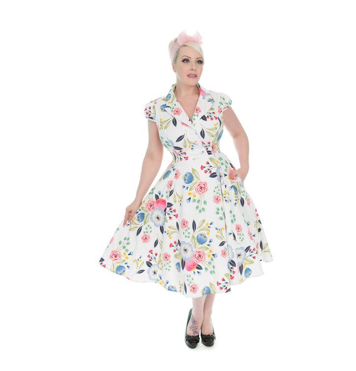 Biele retro pin up šaty Kvitnúca záhrada