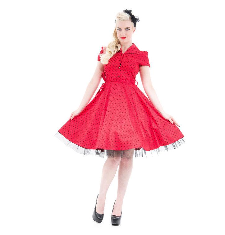 ae7437b1f52 Tip na dárek Červené puntíkované retro pin up šaty