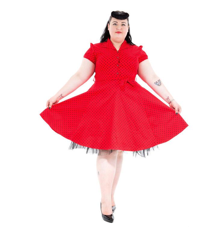 a380df9288c Výjimečný dárek od Dedoles Červené puntíkované retro pin up šaty
