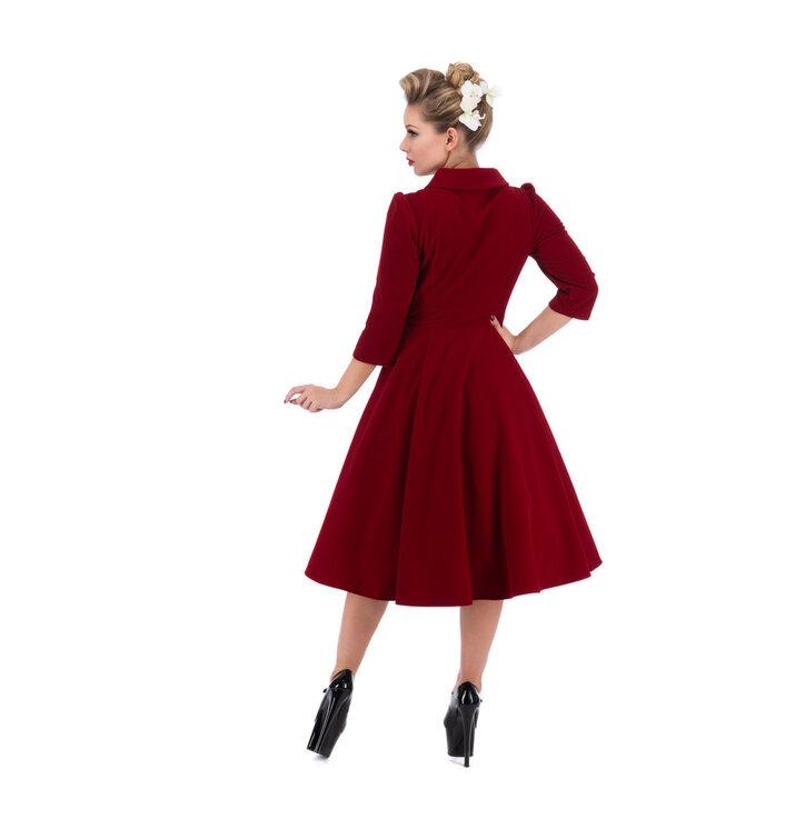 b40b148484f5 Zľava Červené zamatové retro pin up šaty s rukávom