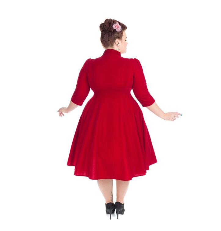 33e6b670b1 Hledáte originální a neobvyklý dárek  Obdarovaného zaručeně překvapí Červené  sametové retro pin up šaty s