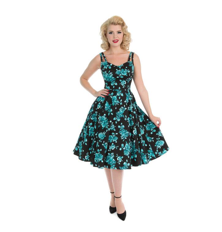 f90b7fc5fb13 Foto černé retro pin up šaty Modré růže