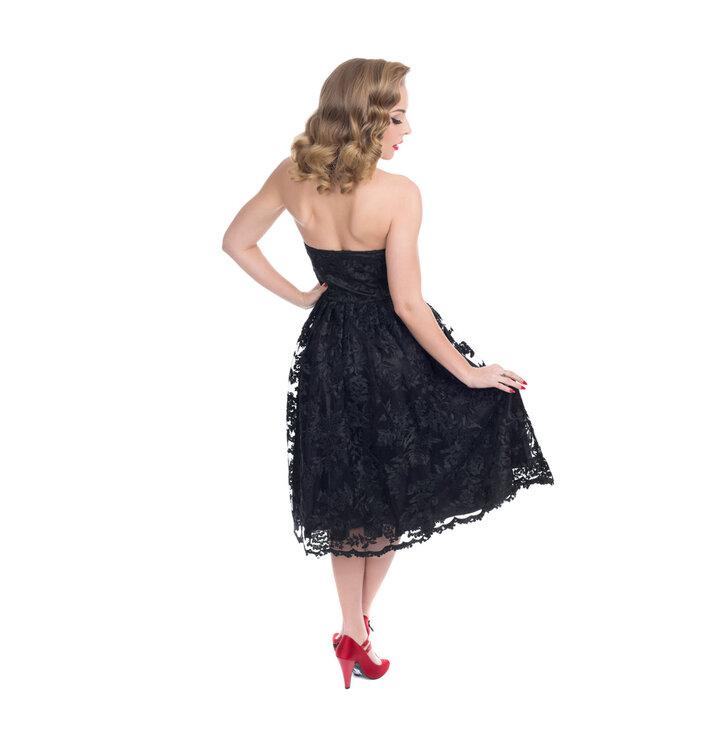 Výpredaj Čierne retro pin up šaty s čipkou 25b71ab3846