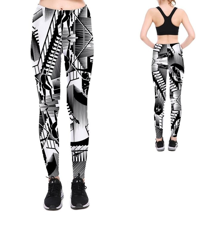 Női elasztikus leggings B&W Abstract Art