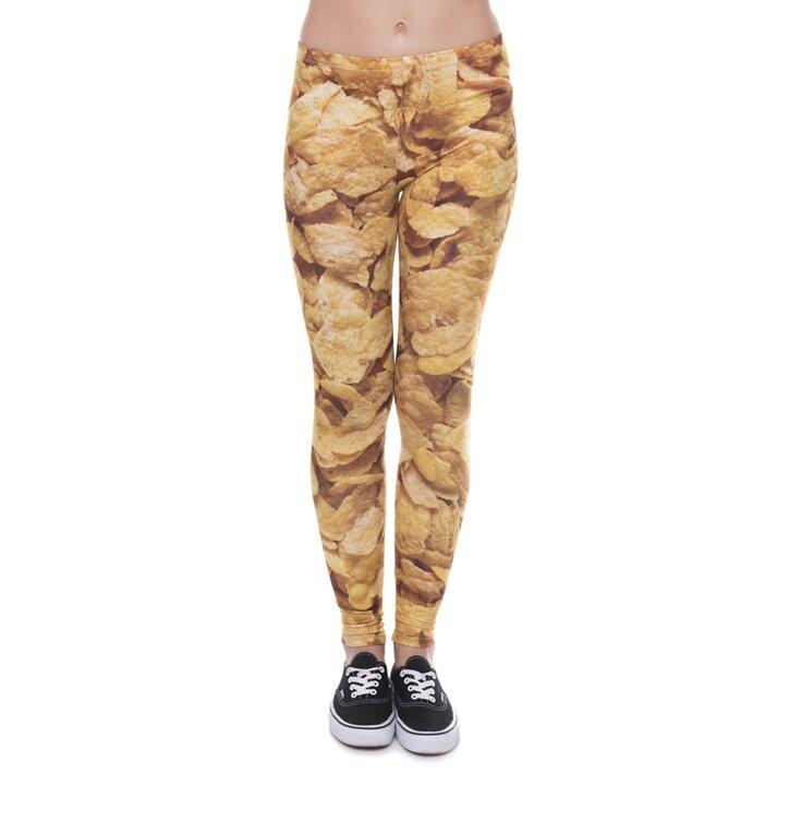 Damskie elastyczne legginsy Płatki kukurydziane