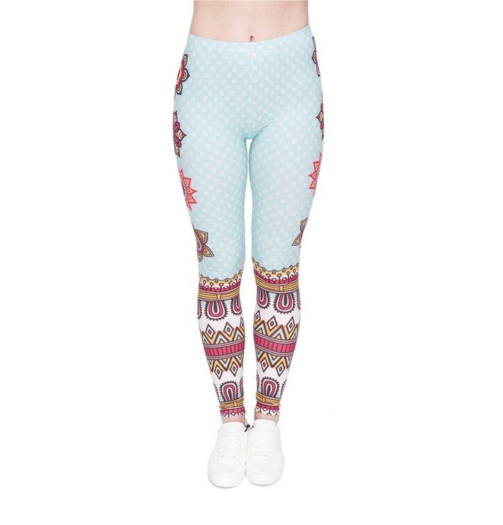 Damskie elastyczne legginsy Kropki i mandale