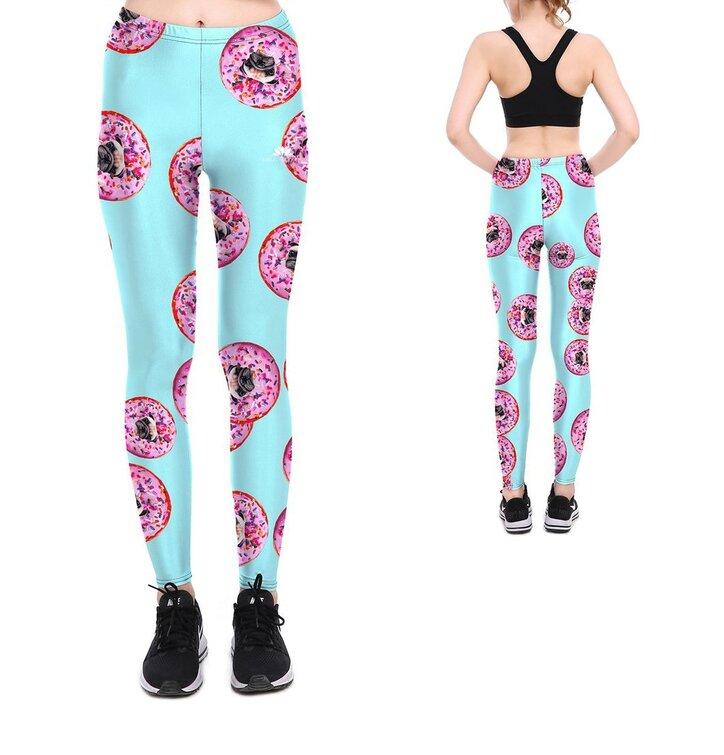 Női elasztikus leggings Pug Doughnut