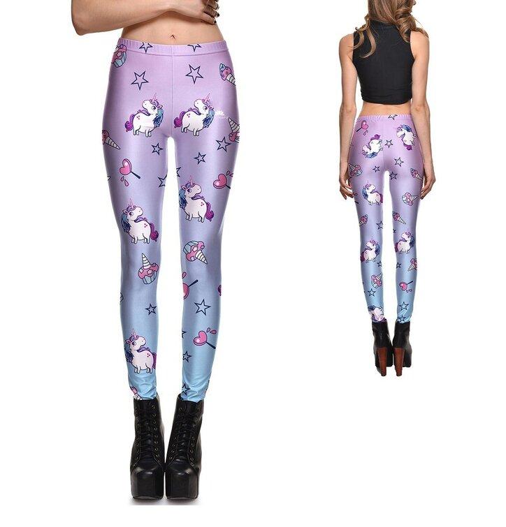 Női elasztikus leggings Purple Unicorn
