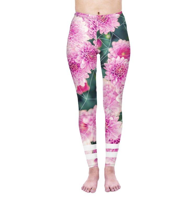 Damskie elastyczne legginsy Róże