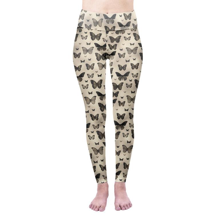 Damen Leggings elastisch mit hoher Taille Schmetterlingsschwarm