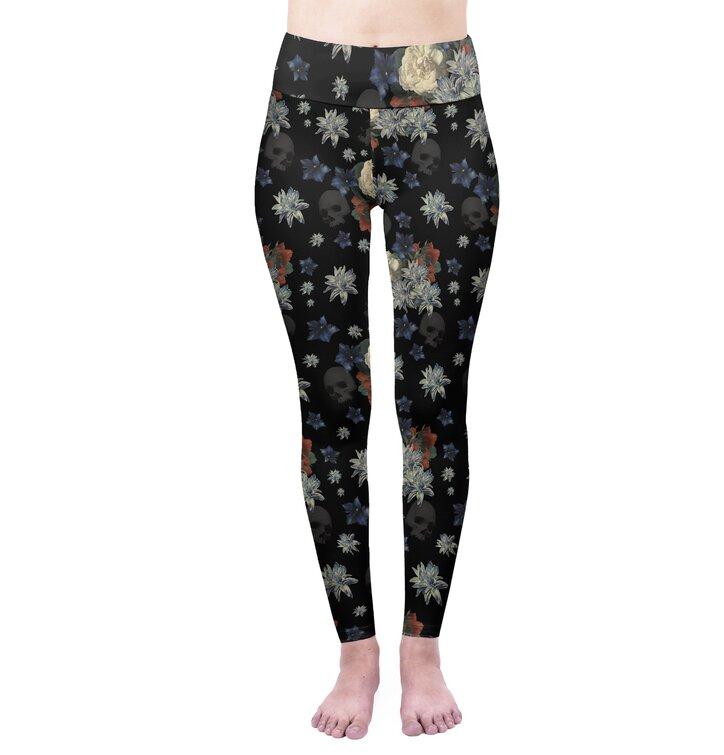 Damskie elastyczne legginsy z wysokim pasem Ciemne kwiaty