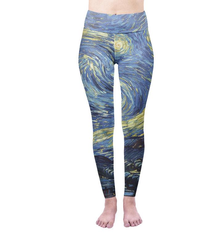 Damskie elastyczne legginsy z wysokim pasem Van Gogh