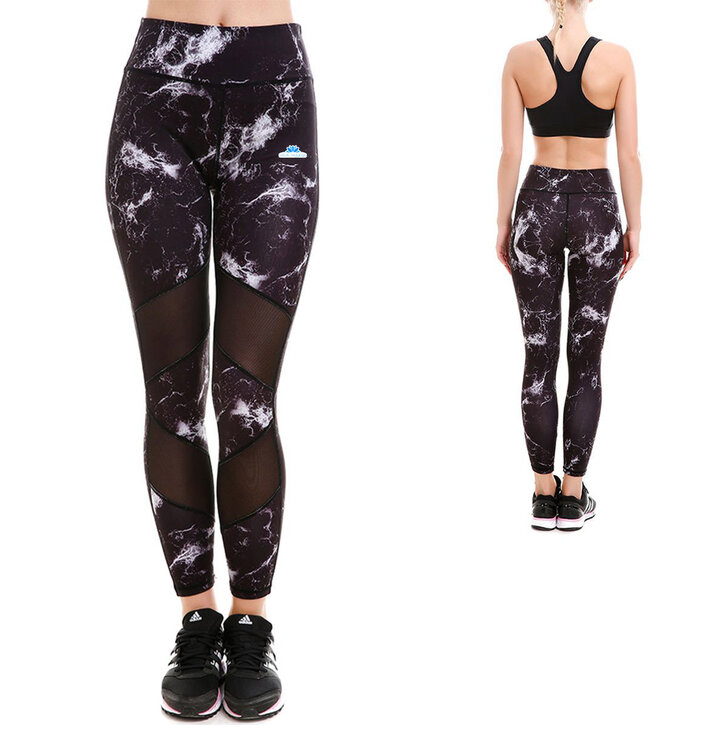 Damen Sport Netz Leggings Marmor