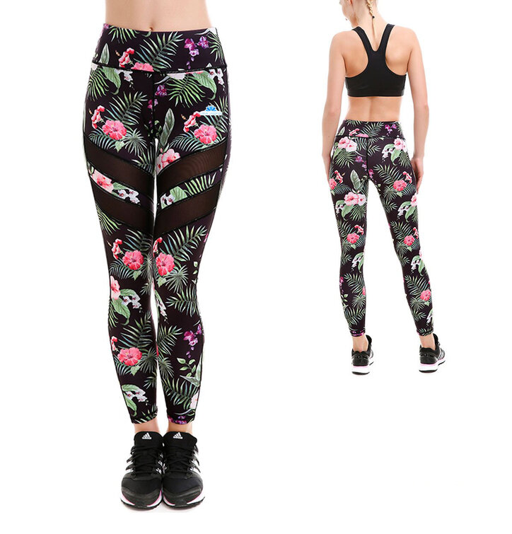 Ladies' Sport Mesh Leggings - Tropical Flowers