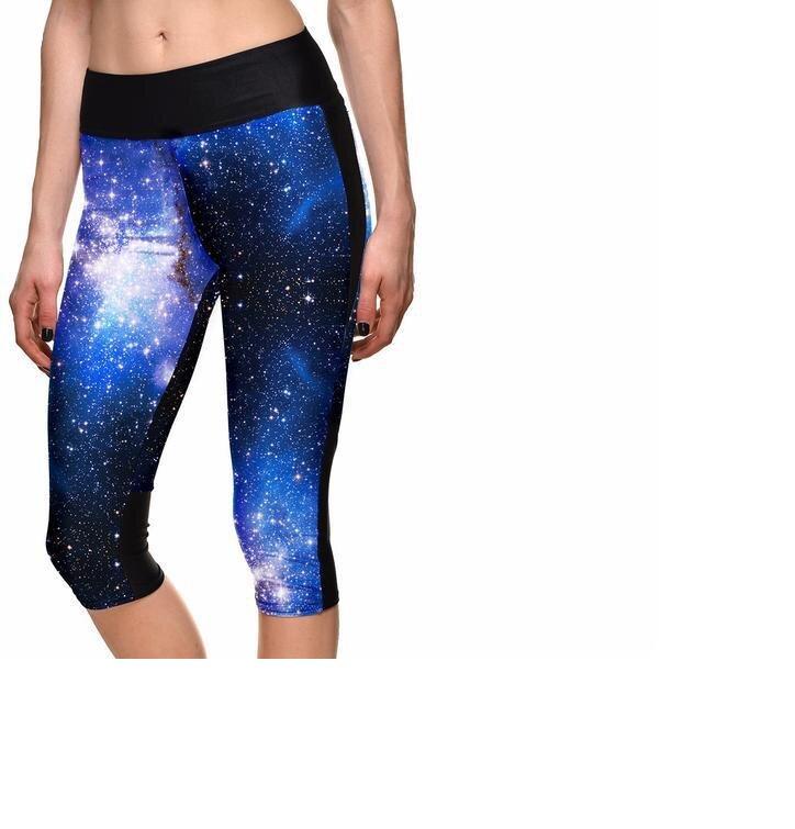 Dámske športové capri legíny Modrá galaxia
