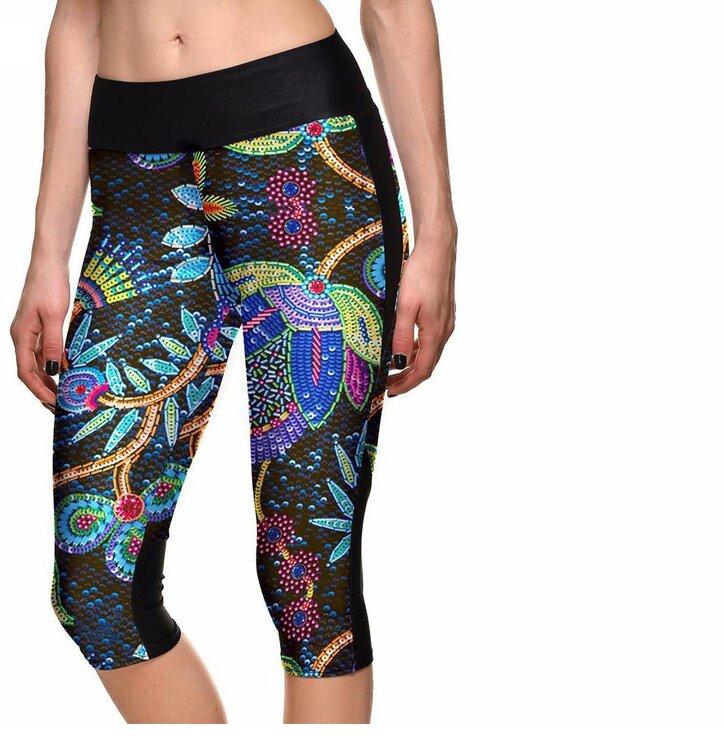 Női sportos capri leggings Neon virágok