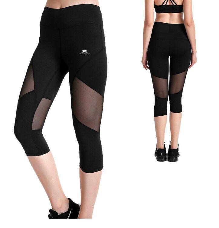 Damen Sport Capri Leggings mit Netz Schwarze Farbe
