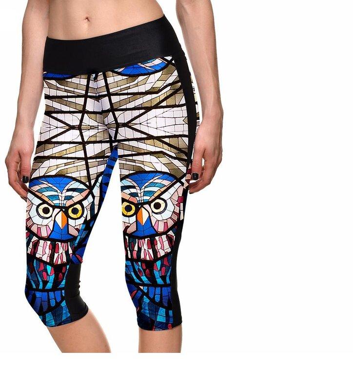 9f388c1d8b Női sportos capri leggings Baglyos festett üveg | Dedoles