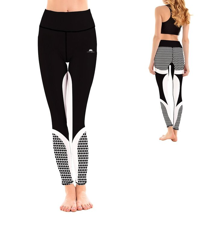 Damen Sport Leggings Elastisch Black Honeycomb