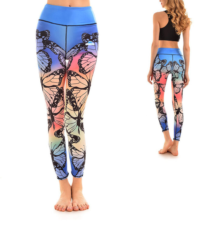 Ladies' Elastic Sport Leggings - Rainbow Butterflies
