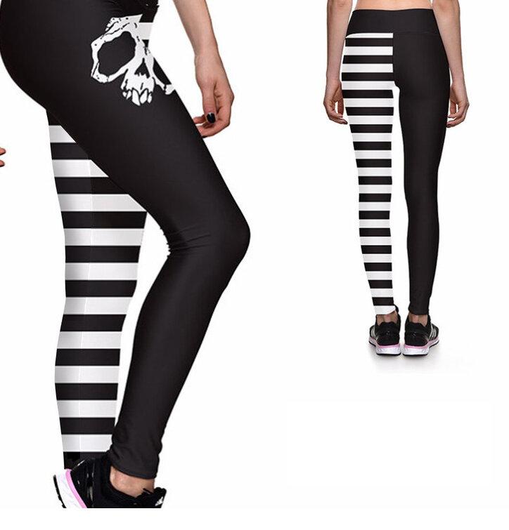 Női sportos elasztikus leggings koponya