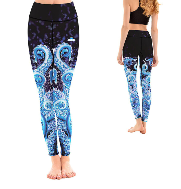 Ladies' Elastic Sport Leggings - Blue Octopus